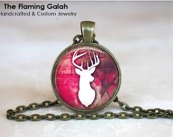 WHITE STAG Pendant • Boho Deer • Bohemian Stag • Pink Boho • Boho Stag • Reindeer • Gift Under 20 • Made in Australia (P1552)