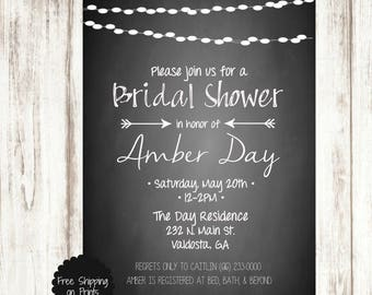 Bridal Shower Invitation, Black and White Bridal Shower Invitation, Printable Bridal Shower Invitation, Chalkboard Bridal Shower Invitation