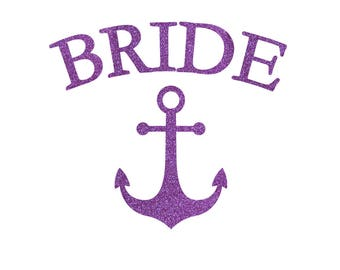 Anchor Bride and Bride's Crew Iron On Decal