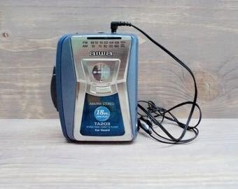 Vintage Aiwa HS-TA203 AM/FM Stereo Radio Cassette Player, 90s Walkman Aiwa S-Bass, Working Aiwa Walkman