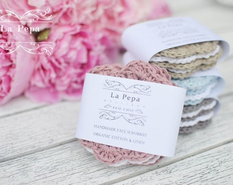 Eco Chic | Linen and Cotton Zero Waste Crochet Face Scrubbies set of 5, Eco-friendly, Reusable Face-Cloths, Eye make-up removers,