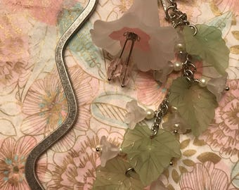 Bookmark Antiquted Silver Sparkling Swarovski Crystals, Czech Glass Brads, Flowers, Ivy, and a Dragonfly