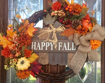 HOT for August SALE - Fall Wreath, Halloween, Thanksgiving Wreath with Happy Fall Sign - Take 25.00 off with coupon code HOT25 at checkout