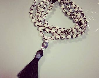 Mala Prayer Necklace with 6 mm Dalmatian jasper stones. To order.