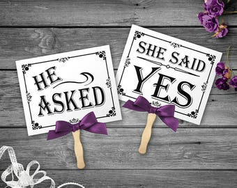 He Asked, She Said Yes Printable Black and White Wedding signs, Engagement Photo Props, Bridal Shoot, Save the Date Prop, Engagement Pic