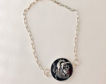 Human heart illustrated necklace Pen and Ink and