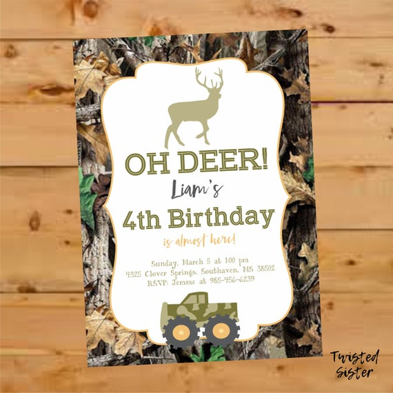 Deer birthday invitation Oh Deer birthday Invite Hunting Birthday