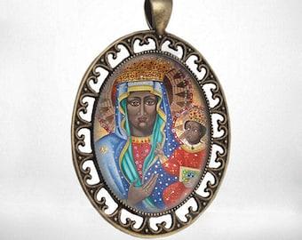 Black Madonna Virgin Mary And Child Jesus - Vintage Catholic Medal Pendant Jewelry