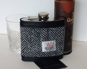 Harris Tweed Hip Flask / Leather