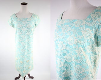 1960's Turquoise Floral Lace Overlay Shift Dress