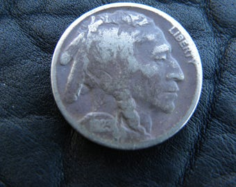 1923 US circulated  authentic vintage Buffalo Indian Nickel coin full date A122