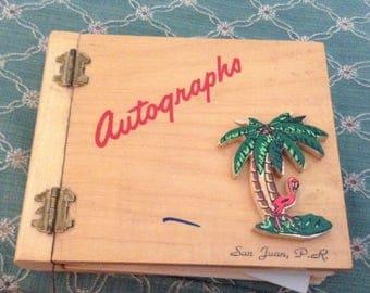 Retro Wooden Autograph Book Puerto Rico