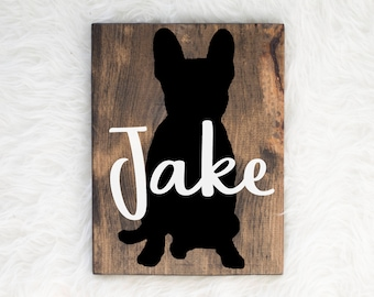 Hand Painted French Bulldog Silhouette on Stained Wood with Name Overlay, Dog Decor, Painting, Gift for Dog People, New Puppy Gift, Frenchie