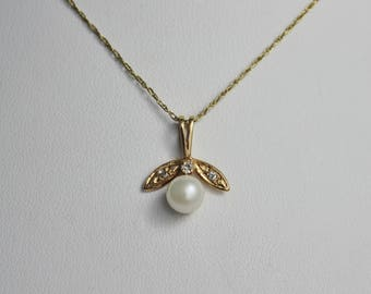 14k Yellow Gold Pearl and Diamond Pendant, 1980s Vintage Pendant, Cultured Pearl, Vintage Anniversary, Delicate Pendant, Ready to Ship