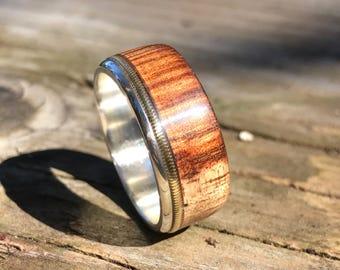 mens ring, wooden ring, mens wood ring, wood ring, koa wood ring, wood wedding band, guitar string ring, guitar string jewelry, musician