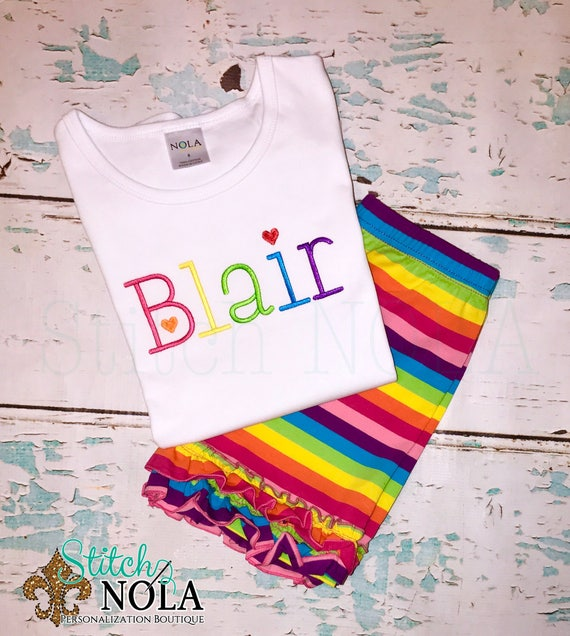 Rainbow Monogrammed Top and Double Ruffle Rainbow Shorts Set, Rainbow Outfit, Rainbow Shorts Set, Rainbow Monogram, Ruffle Shorties, Ruffle