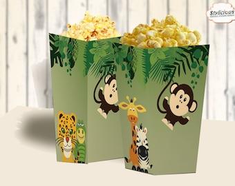 zoo theme birthday / Jungle theme birthday / Safari theme birthday / Animals Birthday – DIY Popcorn Box Printable - Instant Download