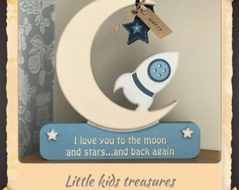 """Chunky wooden freestanding moon & rocket """"I love you to the moon..."""" free personalised name tag byLittle kids treasures"""