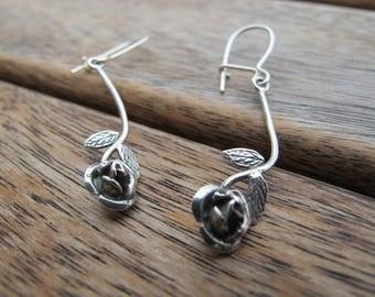 Silver Rose Earrings, Rose Earrings, Silver Flower Earrings, Sterling Silver Earrings, Silver Dangle Earrings, Nature Earrings