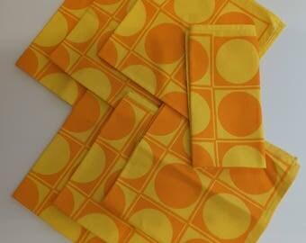Vintage Retro Funky Orange & Yellow Cloth Napkins Set of 7