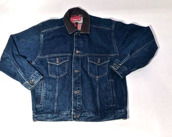 Reduced Price! Vintage Denim Marlboro Country Store Jacket with Leather Trim