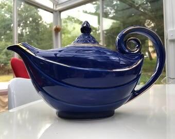 Vintage Blue Hall Aladdin Teapot