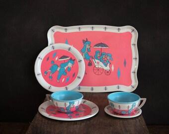 Vintage Child's Tea Set - Six Peices - Poodle