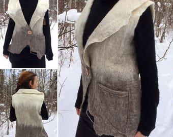 Felted Viking VEST, Wool Felted Vest, handfelted Jacket, Viking Norse Cape, LARP Costume Vest, Fibre Art, Felt Art
