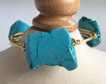 Turquoise Magnesite Slab Wire Wrapped Bangle, Magnesite Wire Wrapped Bracelet, Wire Wrapped Bangle, Wire Wrapped Bracelet, Stackable Bangle