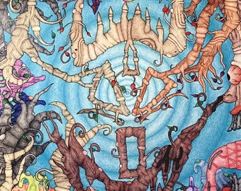 Colored pencil digital print, visionary artwork prints, free shipping in the us