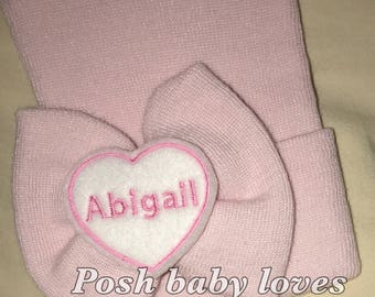 Exclusive PINK Newborn Hospital Hat Monogrammed with PERSONALIZED Name! Bow with Name! 1st Keepsake! You choose bow size