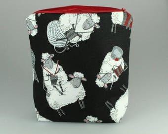 Knitty Sheep Zip Bag/ Pouch