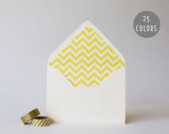 chevron lined envelopes (25 color options) - sets of 10 // envelope liners lined envelopes modern wedding shower party invitation invite