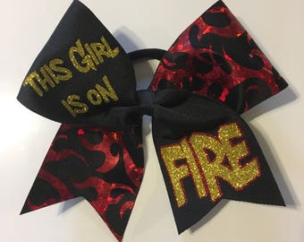 This girl is on Fire cheer bow