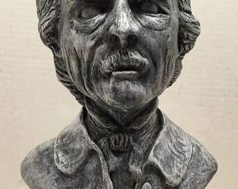 Edgar Allen Poe bust statue hand made horror