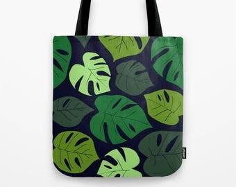 Summer Tote Bag, Monstera Leaves Tote Bag, Tropical Tote Bag Shoulder Bag, Monstera Gift for Her, Gift for Best Friend, Gift for Teen Girl