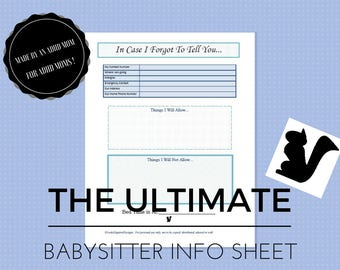8.5x11, Babysitter Notes, Important Information, Emergency Contact, Baby Sitter Planner, Child Care Instructions, ADHD, Nanny Notes, PDF
