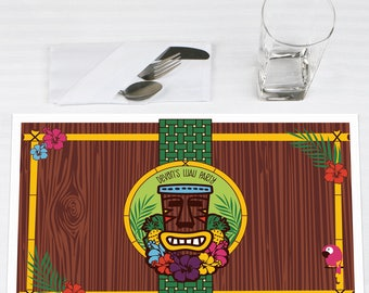 Tiki Luau Placemats - Personalized Tropical Hawaiian Summer Party Supplies - Aloha Beach Party Paper Placemat - 12 Ct.