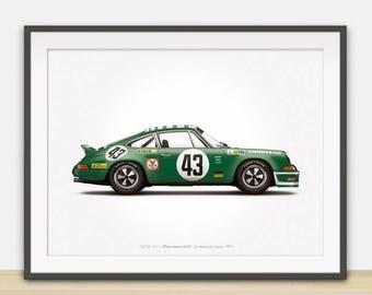 1973 Porsche 911 Carrera RSR (Le Mans 24 Hours) illustration poster, print