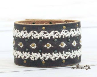 CUSTOM HANDSTAMPED wide brown leather cuff with stitching by mothercuffer