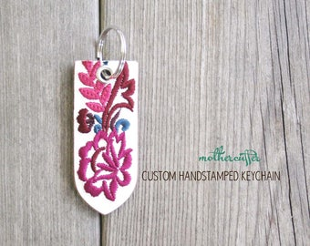 CUSTOM HANDSTAMPED white leather keychain with stitching by mothercuffer