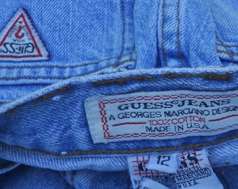 VINTAGE 1980's GUESS USA George Marciano Blue denim Jean Skirt-Triangle Logo Patch-100% Cotton Girls 12 -Free Shipping!