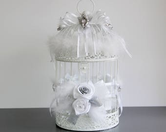 Bird cage decorative urn wedding christening birthday or welcome messages theme white and silver Angels
