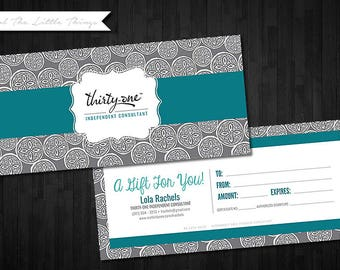 NEW Fall Winter Patterns | Customized Gift Certificates for Thirty One | Digital Download Print Yourself