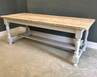 Vintage Kitchen Dining Turned Leg Refectory Table Made From Reclaimed Timber
