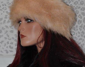 Beige Fur Headband in a combination of Light and Darker Beige Faux Fur