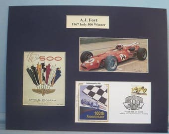 Auto Racing Great A.J. Foyt Wins the 1967 Indy 500 & First day Cover of the Indianapolis 500 stamp