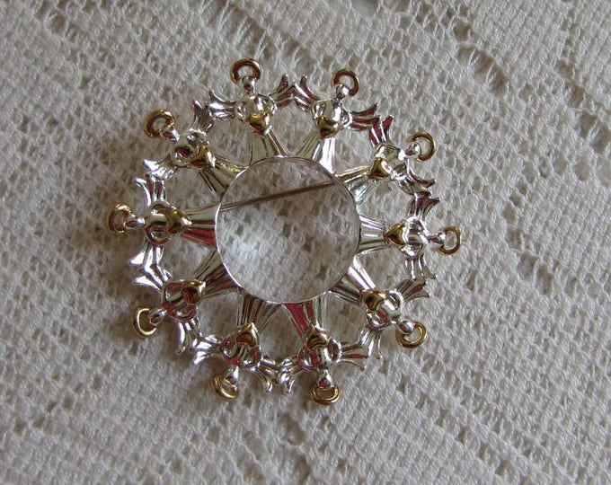Circle Angel Brooch Avon Silver-Toned with Gold Halos Vintage Jewelry and Women's Accessories