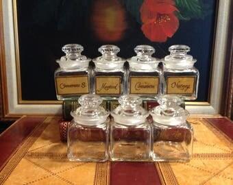 7 Clear Glass Spice Jars - Kitchen Storage Jars