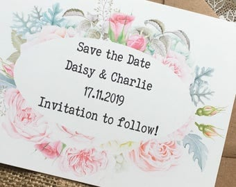 Floral Save the Date Invitation Wedding Bride and Groom Shabby Chic